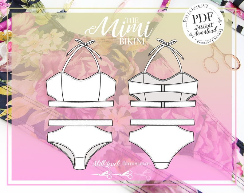 Mimi Bikini Swimwear Sewing pattern  PDF Instant Download  image 0