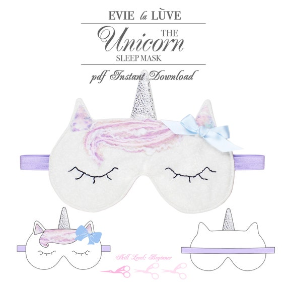 DIGITAL Unicorn Sleep Mask Sewing Pattern PDF Sewing Pattern