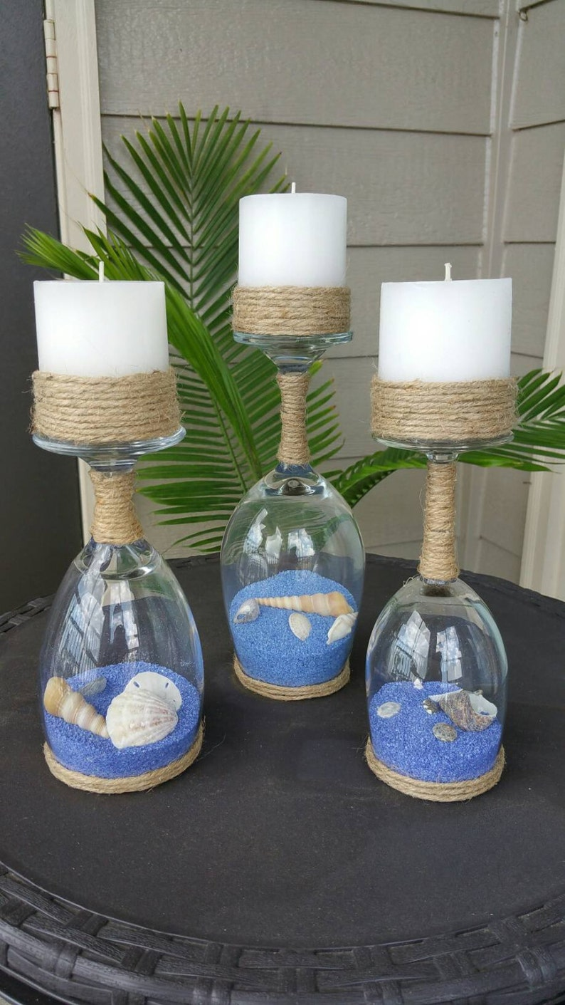 Seashell and Sand Wine Glass Candle Holders Set of 3 image 0