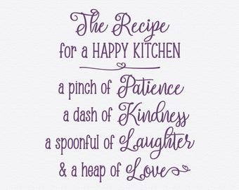 Recipe For A HAPPY KITCHEN, Vinyl Wall Quotes, Wall Quote Decal, Kitchen  Decals