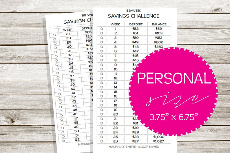 photograph relating to 26 Week Savings Plan Printable identified as 52 7 days Discounts Concern Particular person RING Dimensions Printable Planner Add!  DreamPlanPrint #03-3