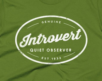 Guys Introvert Shirt, Men's Tee, Shy Guy Shirt, Vintage Hipster Logo, Introverted Introverts Unite, Shirt for Shyness, Gift for Shy People