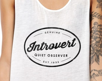 Introverted Tank - I'm an Introvert Shirt - Tee for Introverts - Hipster Tank Vintage Logo