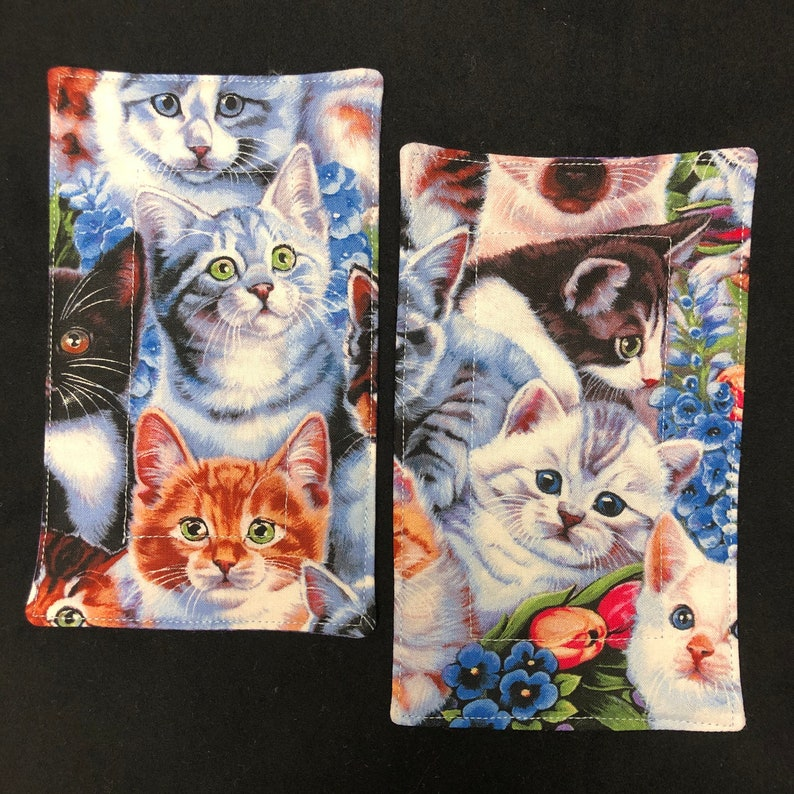 Set or Single Baseball Kitty Cat Collage Quilted Mug Rugs 100/% Cotton and Machine Washable Whiskers /& Eyes Coaster for Cup and Snack