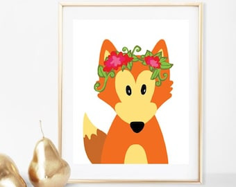 Woodland Fox Nursery Printable Wall Art, Instant Download, Digital Printable Art, Forest Animals, Kids Decor, Children, Poster Print, Floral