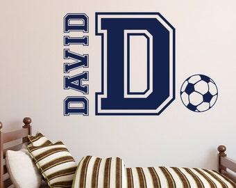 Soccer Wall Decal - Boys Room Soccer Decor - Custom Name Decal - Kids Soccer Decal - Soccer Decal - Sports Vinyl Wall Decal