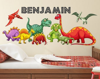 Dinosaurs Wall Decal - Kids Boys Bedroom Wall Art - Cute Dinosaurs -  Personalized Name Wall Decal - Dinosaur Themed Vinyl Wall Sticker ba14f4ef00
