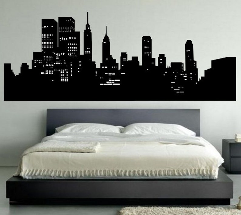 new york skyline wall decal bedroom wall decal decor new | etsy