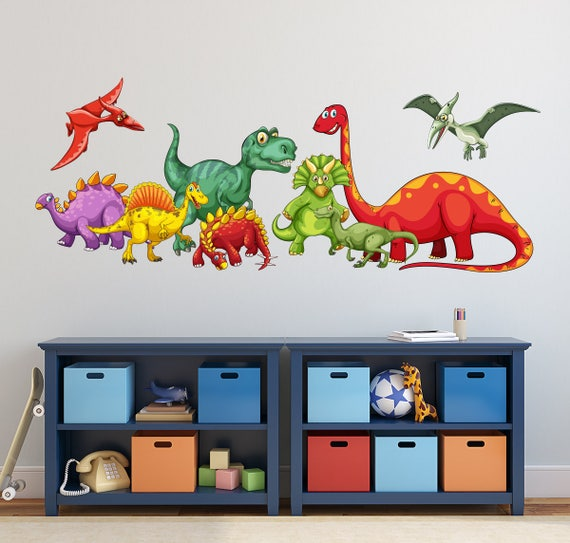 Dinosaurs Wall Decal - KIds Boys Bedroom Wall Art - Cute Dinosaurs Nursery  Wall Decal - Dinosaur Themed Vinyl Wall Sticker