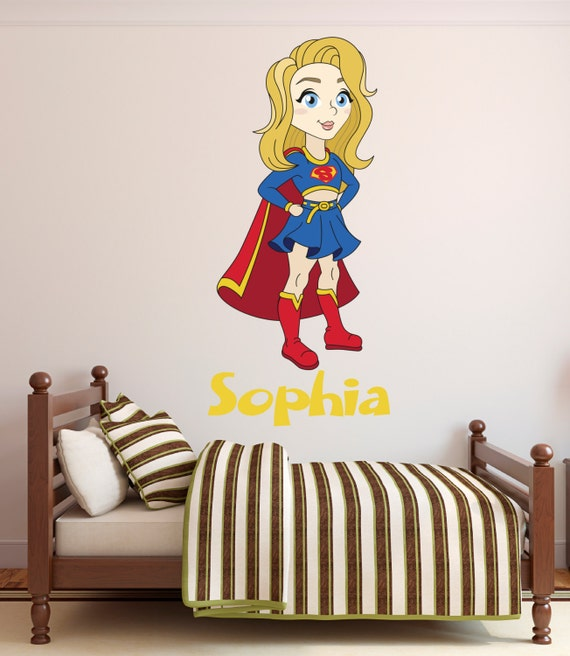 supergirl wall decal personalized name wall decal super | etsy