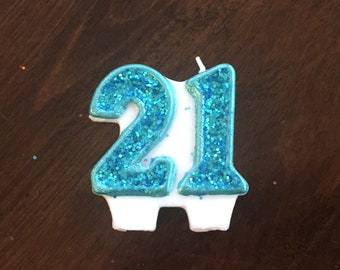 Number Twenty One 21 Glitter Candle