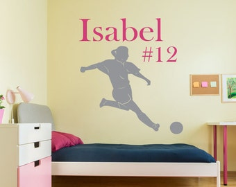 Girls Soccer Wall Decal, Personalized Girls Soccer Wall Decal, Soccer Wall Decal, Soccer Wall Sticker, Soccer Vinyl Decal