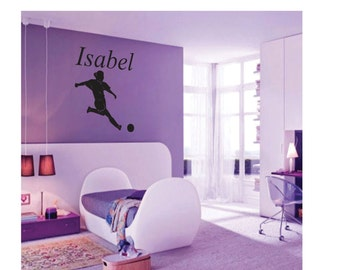 Personalized Girls Soccer Wall Decal, Girls Soccer Wall Decal, Soccer Wall Decal, Soccer Wall Sticker, Soccer Vinyl Decal