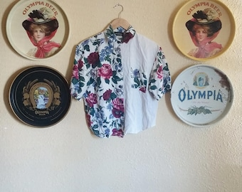 90s Fritzi Floral Cropped Blouse