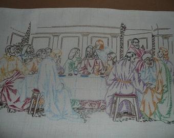 Hand Embroidered, Folk Art, Last Supper Scene On Sack Cloth