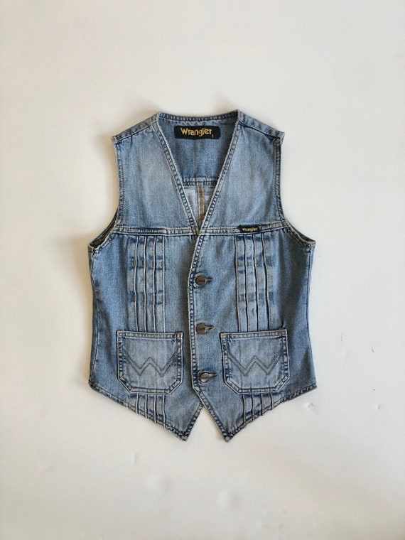 Vtg wrangler denim vest 90s does 70s / sm