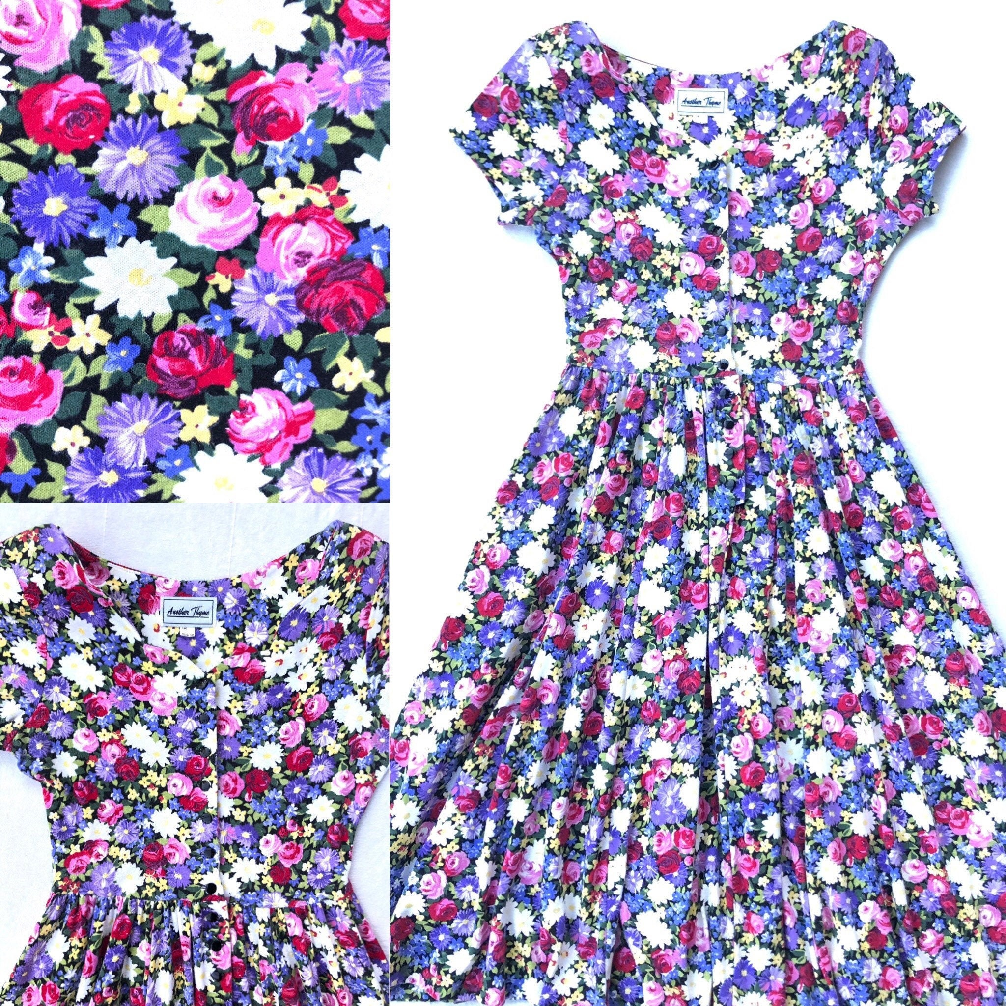 80s Dresses | Casual to Party Dresses Floral Full Skirt Scalloped Neckline Cotton Jersey Front Button Cap Sleeve Dress Med $0.00 AT vintagedancer.com