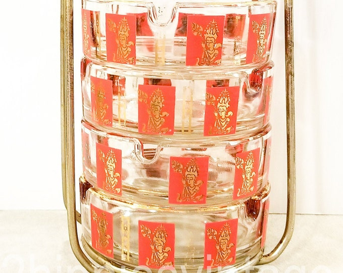Set of Vintage Ashtrays with Caddy Jeannette Glass Asian Oriental Theme