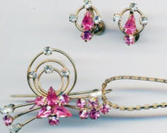 Pink and Clear Rhinestones in Gold Filled Wire / Vintage Jewelry