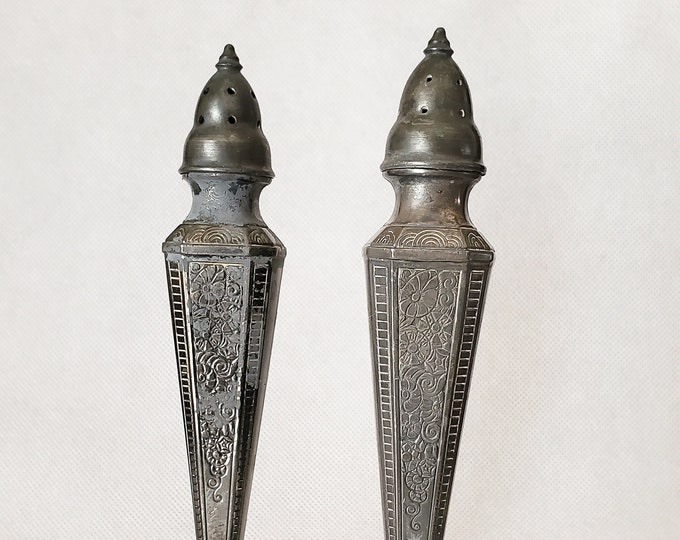 Astor by Poole Silver Company Tall Vintage Formal Salt & Pepper Shakers
