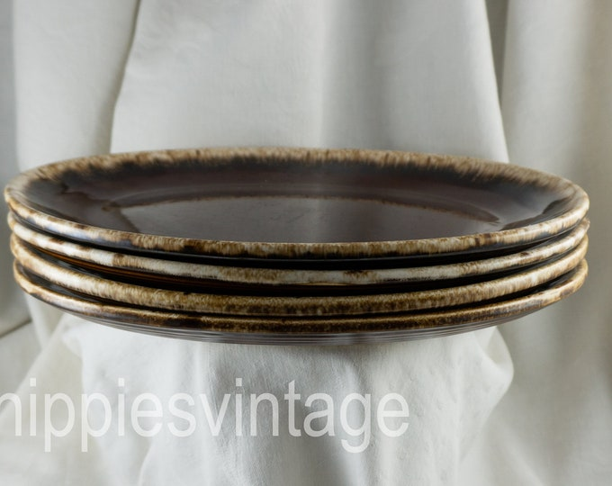 Vintage Hull Pottery Brown Drip Oval Serving Platter - Steak Plate SET of FOUR