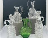 FIVE Vintage Glass Crystal Cruet Olive Oil Dispenser Pitchers