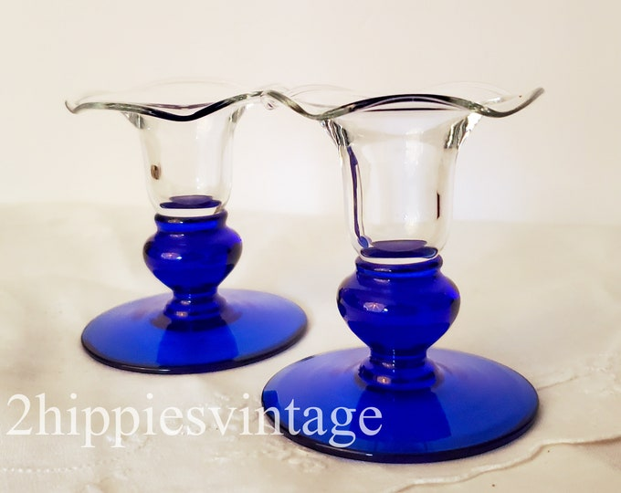 Vintage Pair of Single Candlesticks Cobalt Blue Base Ruffled in Crystal Sapphire by Princess House