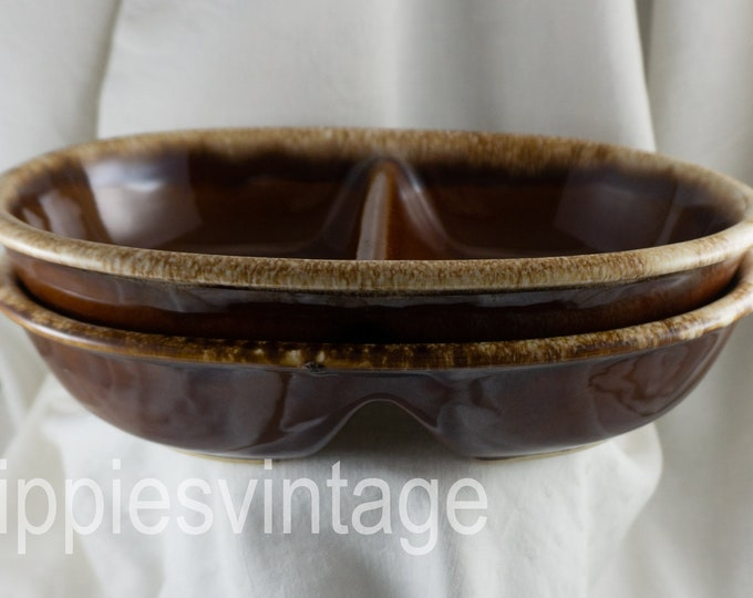 """1960s Hull Pottery Brown Drip Oval Divided Vegetable Bowl 11"""" PAIR of TWO"""