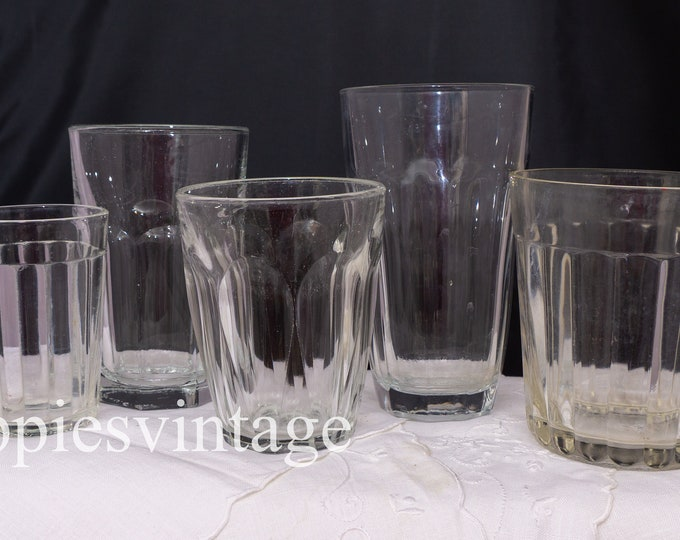 Vintage Lot of FIVE Clear Glass Paneled Tumblers