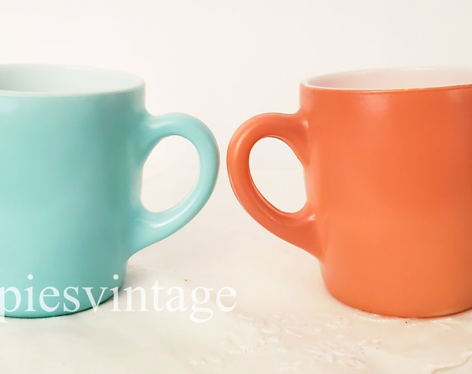 Pair of Mid Century Coffee Cups Blue and Brown