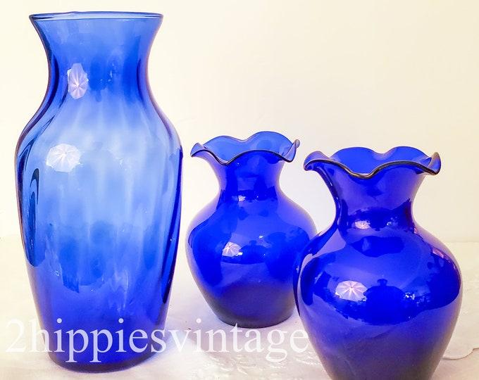 Vintage Cobalt Blue Glass Vases Set of Three Mid Century