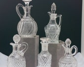 Five Higher End Vintage Glass Crystal Cruet Olive Oil Dispenser Pitchers with Stoppers