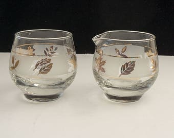 Mid Century Libbey Golden Foliage Foil Frosted Glass Cream and Sugar