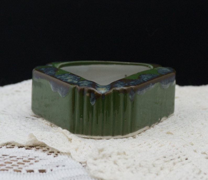 Green Drip Triangular Art Deco Ceramic Ashtray