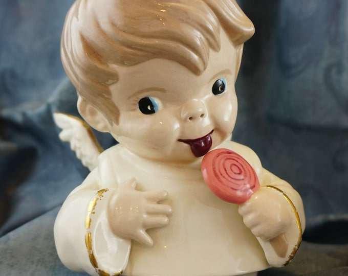 Vintage Night Light Ceramic Baby Angel with Lollipop Hand Painted 1960