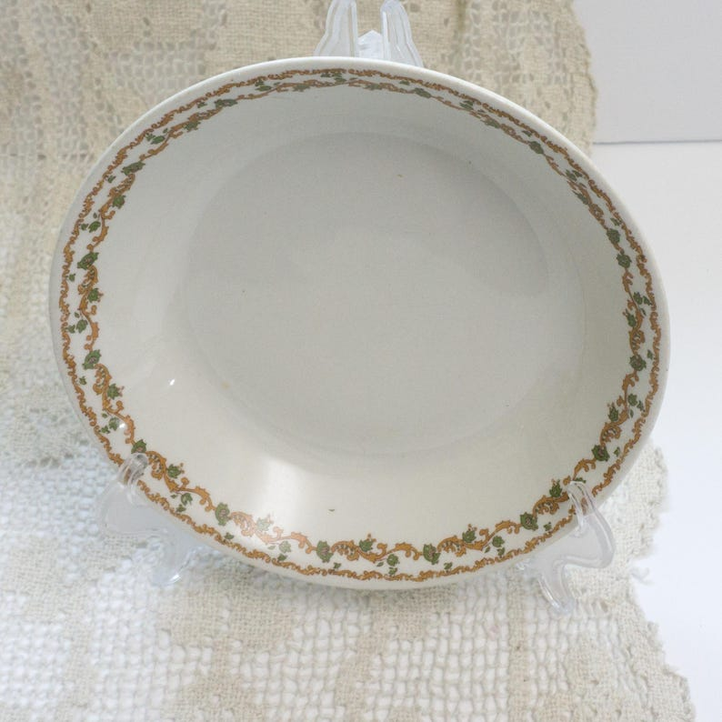 Set of Two Vintage Warwick Pattern Bowls 09071 Oval Serving Dish and One 7.5 Inch Soup Bowl Gold and Green c1930s