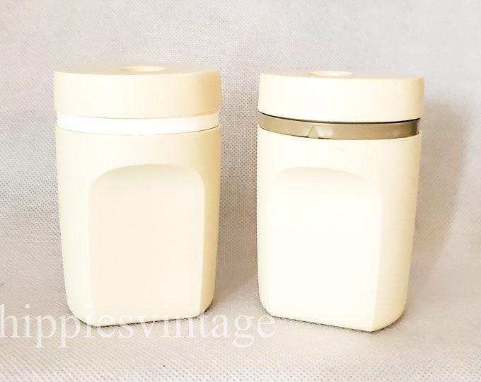 Vintage Mid Century Brown Beige Tupperware Salt and Pepper Set 1970s