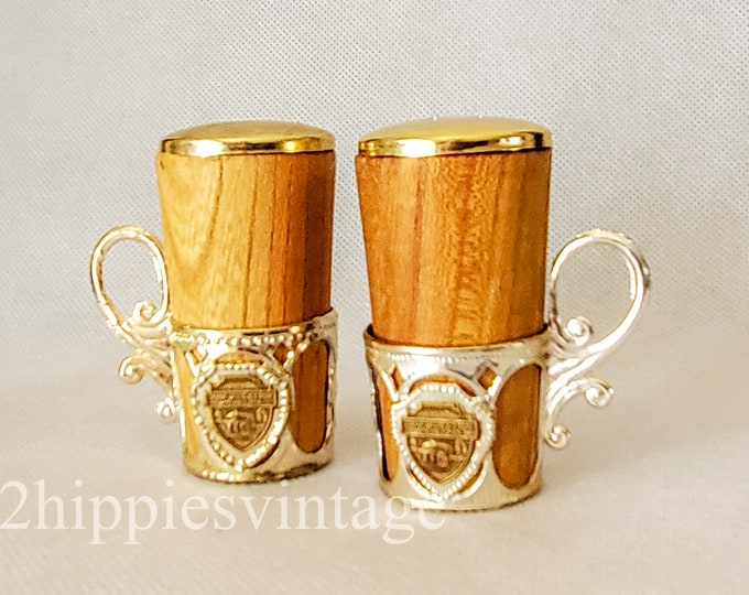 Vintage Spring Mill State Park Mitchell Indiana Souvenir Wood Salt & Pepper Shakers with Holders