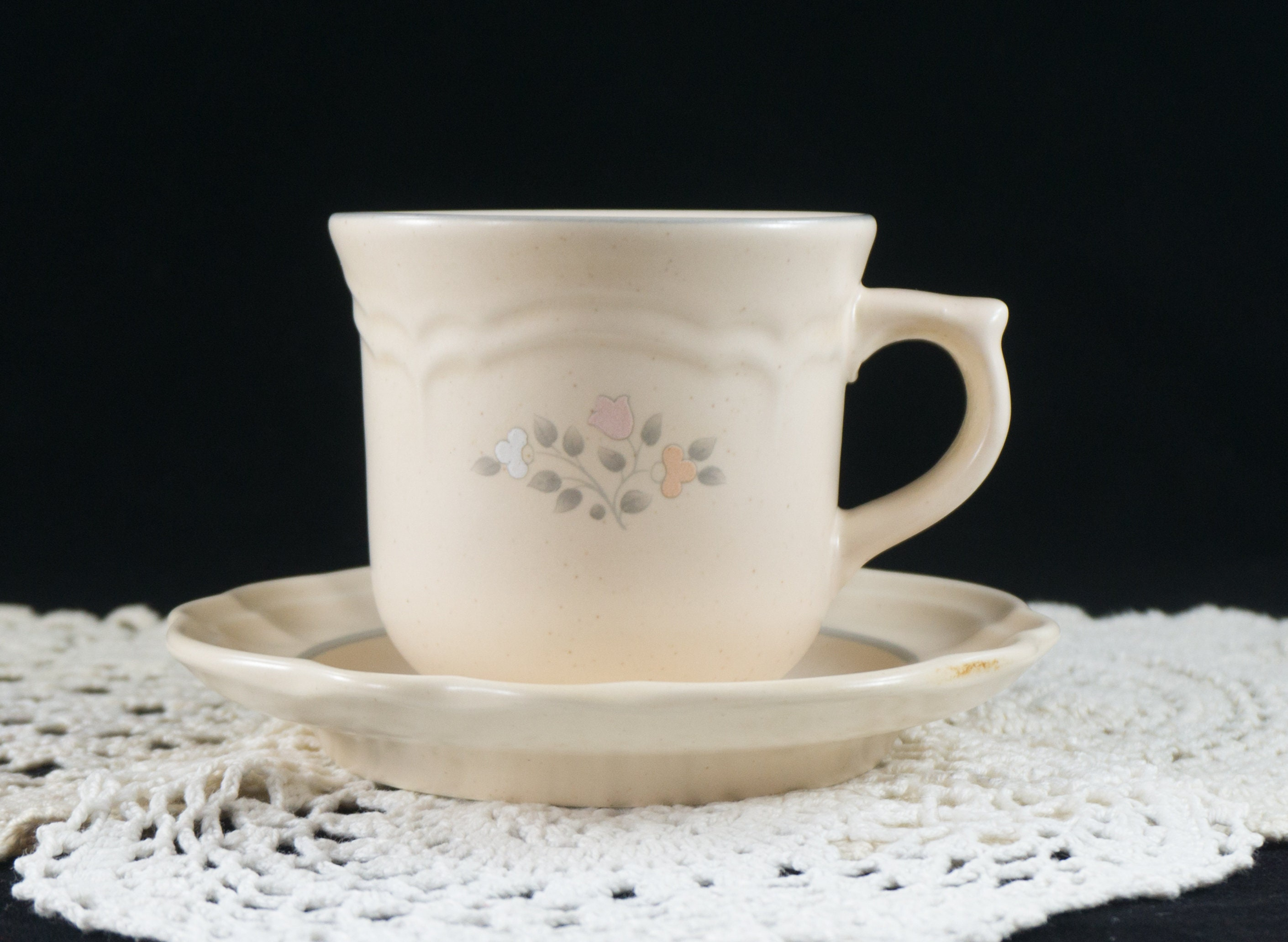 Pfaltzgraff Remembrance Pattern Flat Cup and Saucer Discontinued