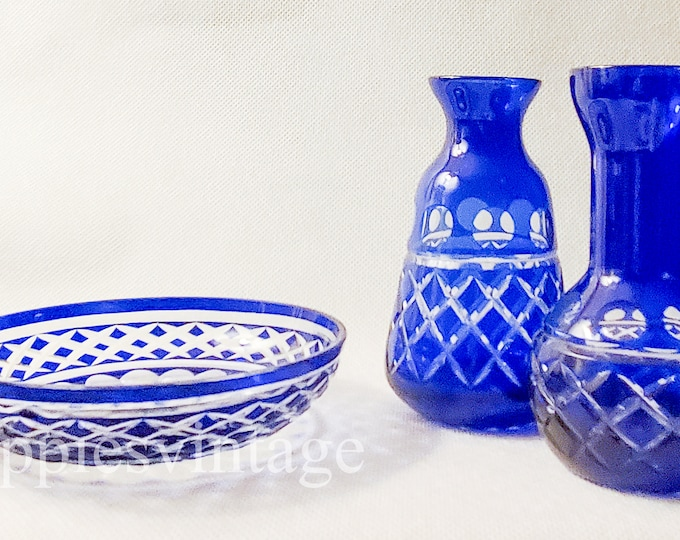 Vintage Blue Cut to Clear Crystal Madison by Towle Crystal Three Pieces