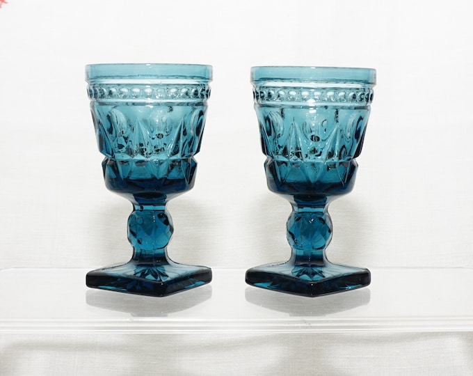 """PAIR of Park Lane by Colony Glass Blue Cordial Glasses 3-1/2"""""""