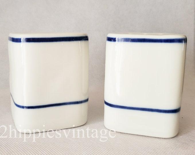 Vintage Mid Mod Salt & Pepper Shakers - Viana Do Castelo for William Sonoma Square Porcelain Made in Portugal Blue White
