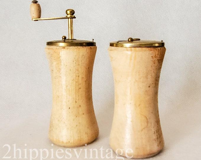 MCM Mid Mod Salt Shaker and Pepper Grinder in Natural Wood Made in Japan Salt & Pepper Shakers