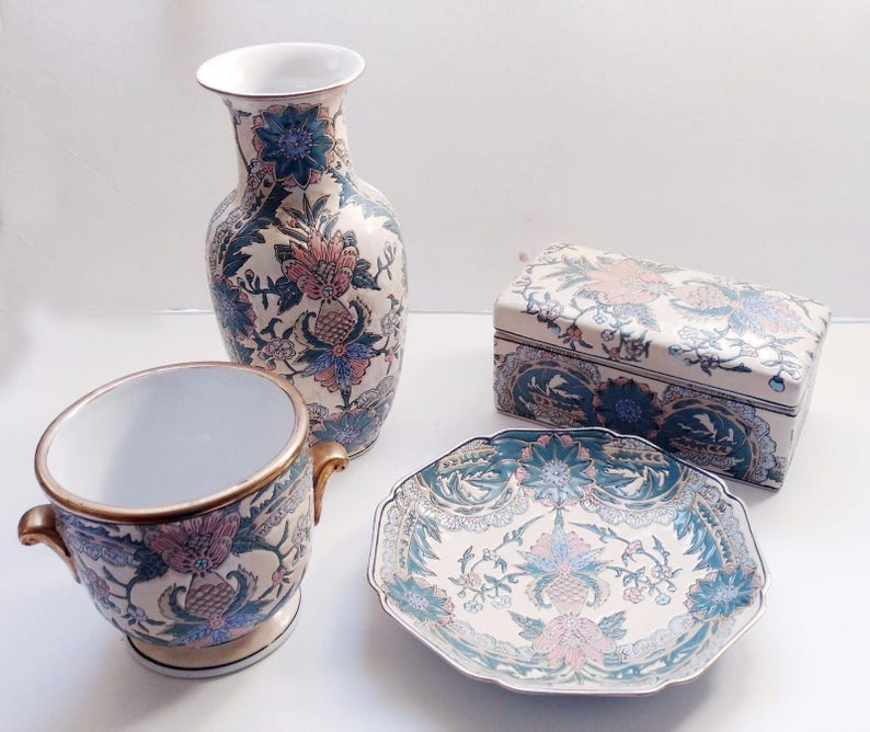 Four Piece Vintage Jade Green Asian Influenced Heavy Pottery Andrea by Sadek