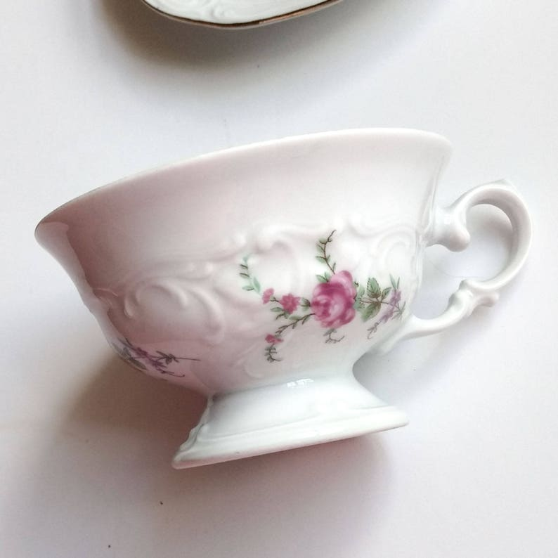 Four Piece Set of Wawel Pink Rose Garden Vintage Polish China