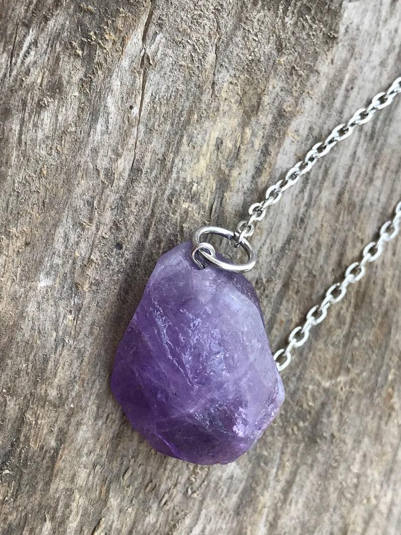 Raw Crystal Necklaces Raw Amethyst Crystal Necklace Violet Quartz Crystal Necklace