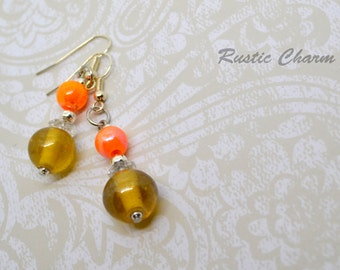 Orange Glass Dangle Earrings with Silver Tone Accents