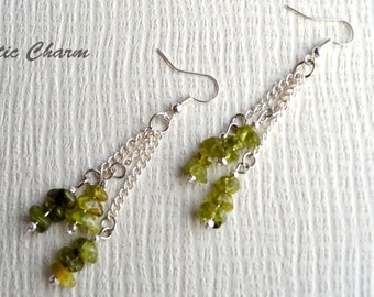 Peridot Chip Rock Dangle Frenchwire Earrings, August bithstone