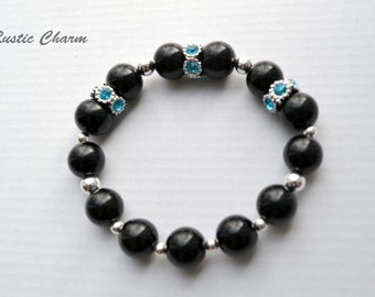 Black Glass Pearls Beaded Stretch Bracelet with Blue Crystals