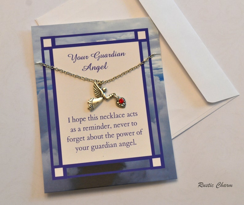 Personalized Guardian Angel pendent Necklace Card Gift for image 0